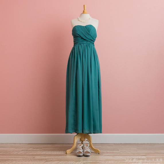 Teal Green Bare-top Dress