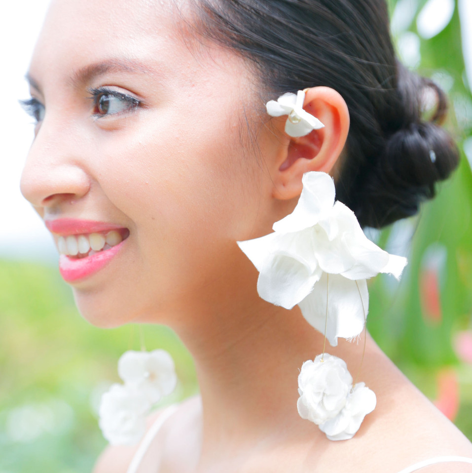 Hand-made big flower earring