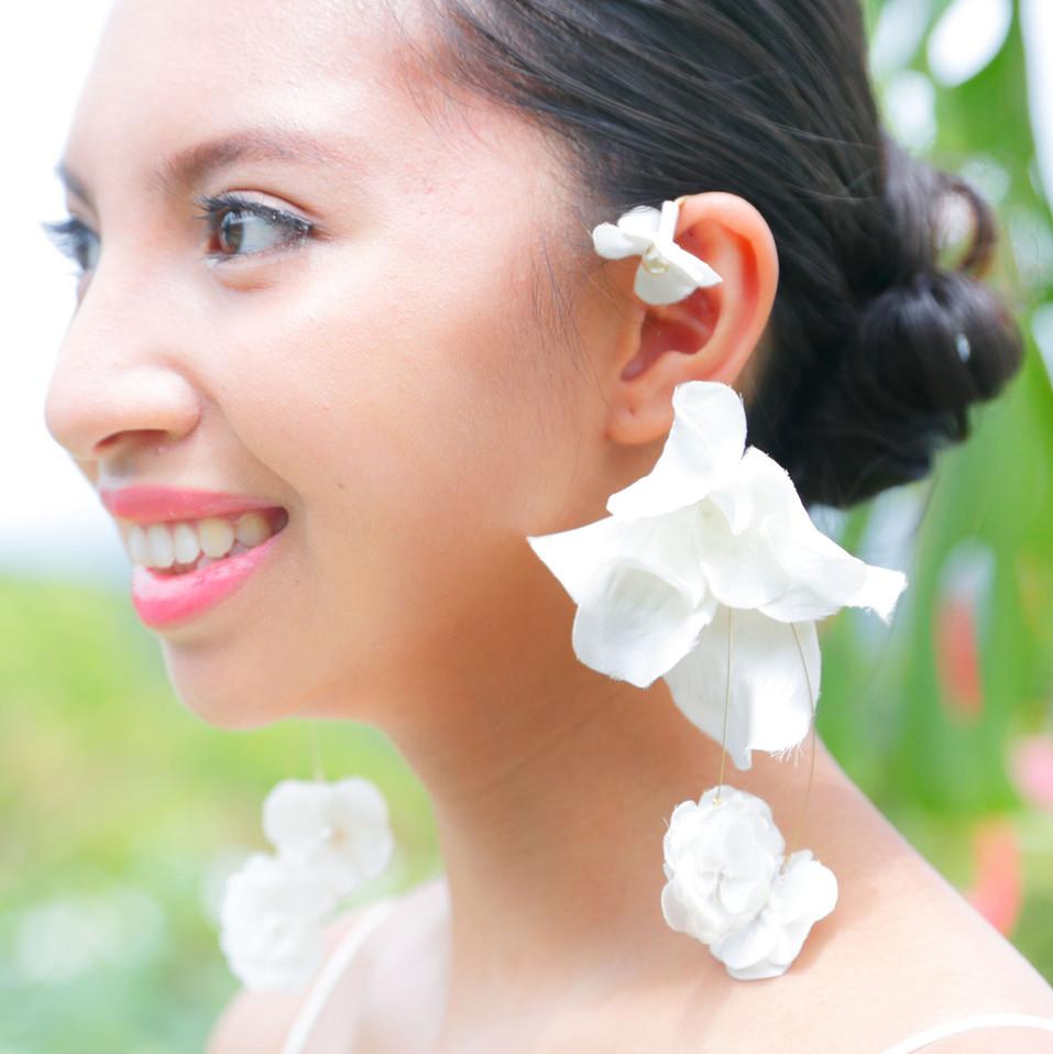 Hand-made big flower earring