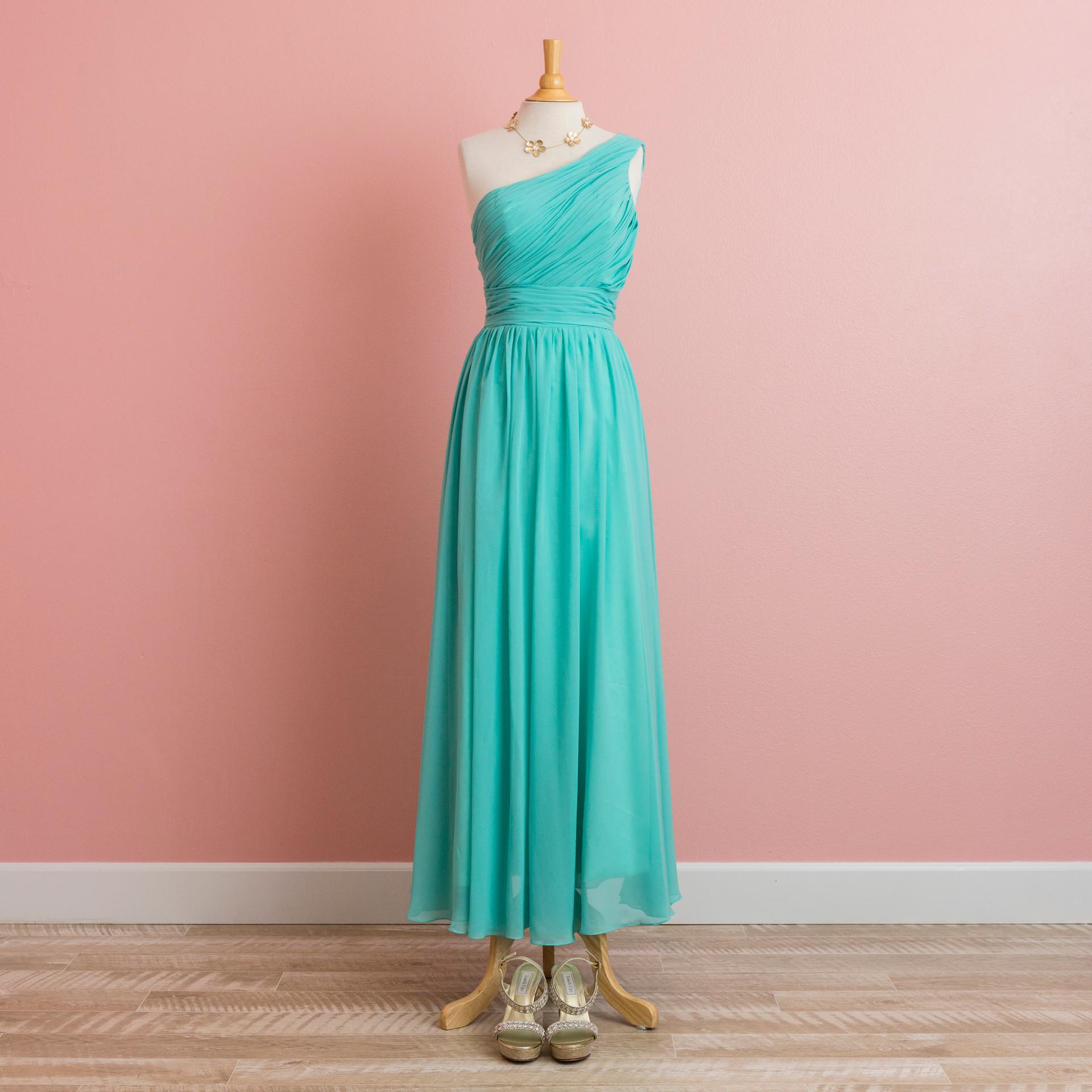 One shoulder emeral green dress: BD1299GR