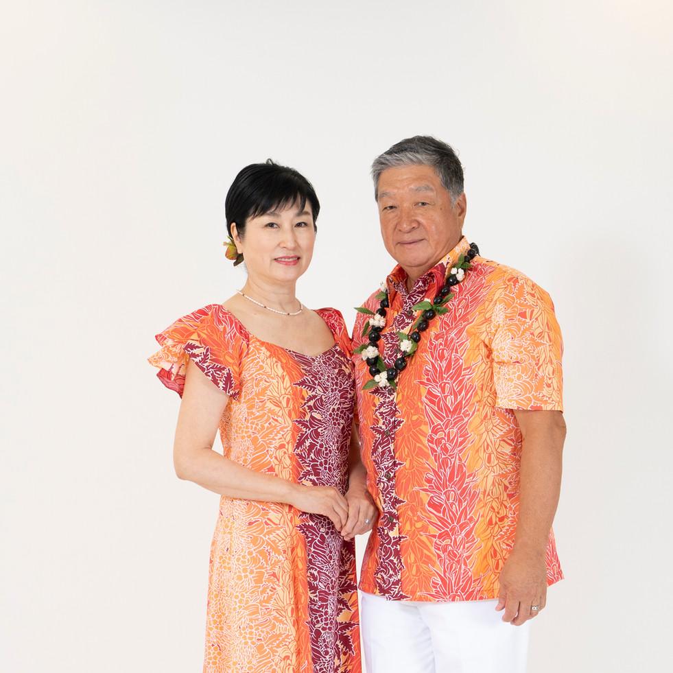 Orange lei print flare sleeve dress and shirt