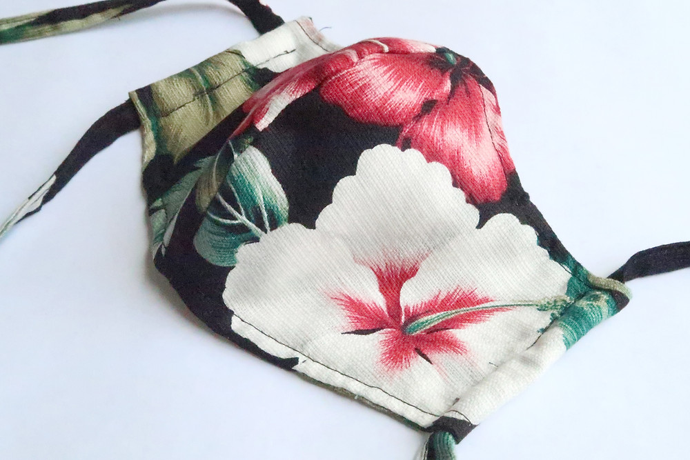 Black Hibiscus Print Cotton Mask