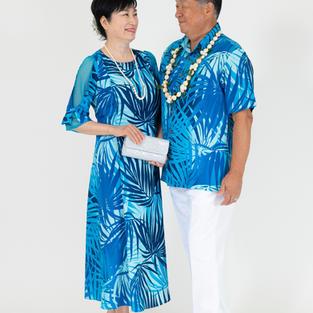 Palm Leaf Blue Dress