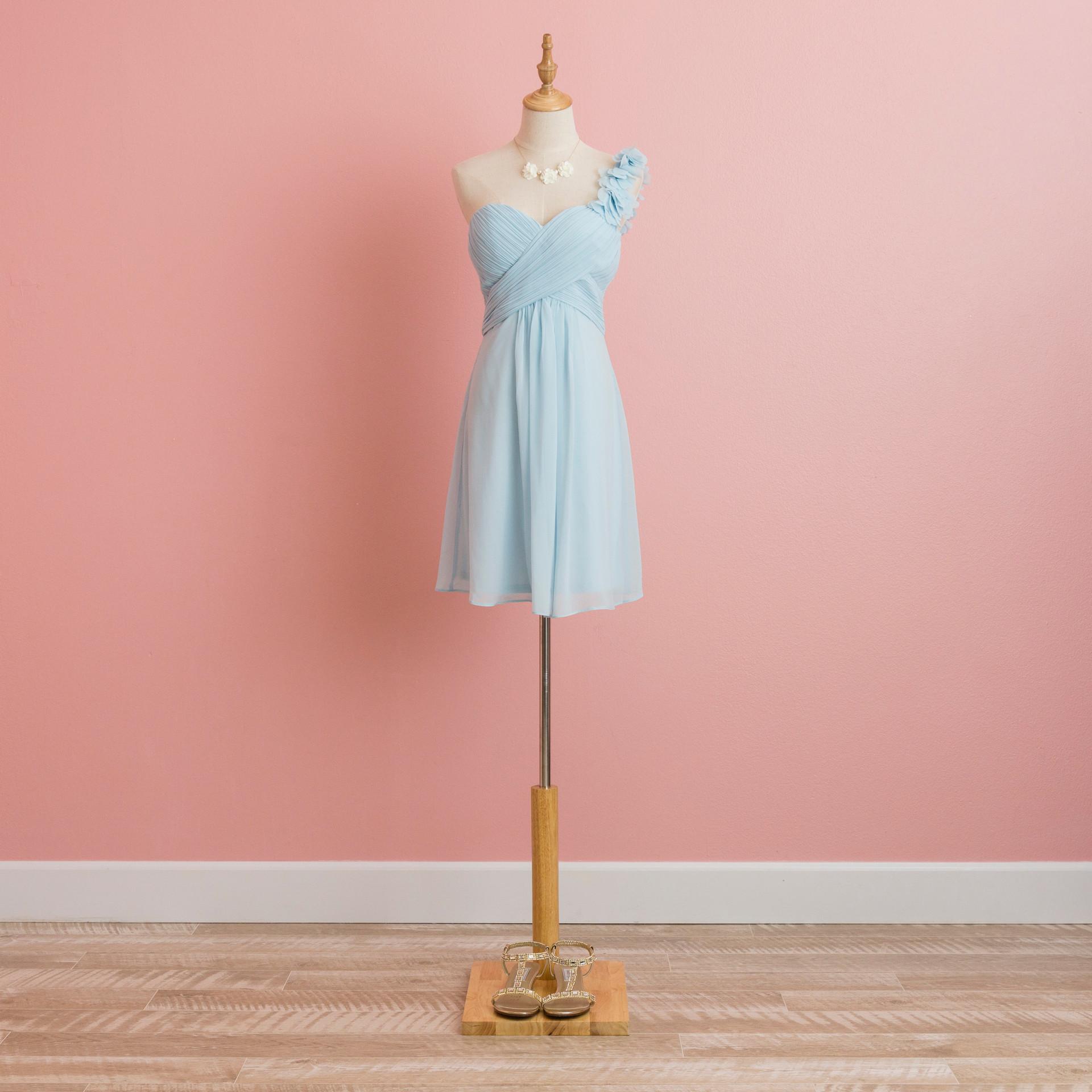 Pastel Blue One Shoulder Mini Dress