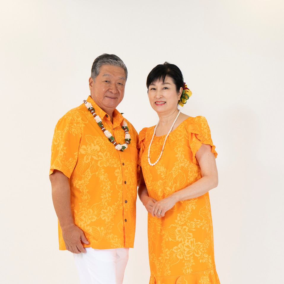 Tuberose print Hawaiian dress