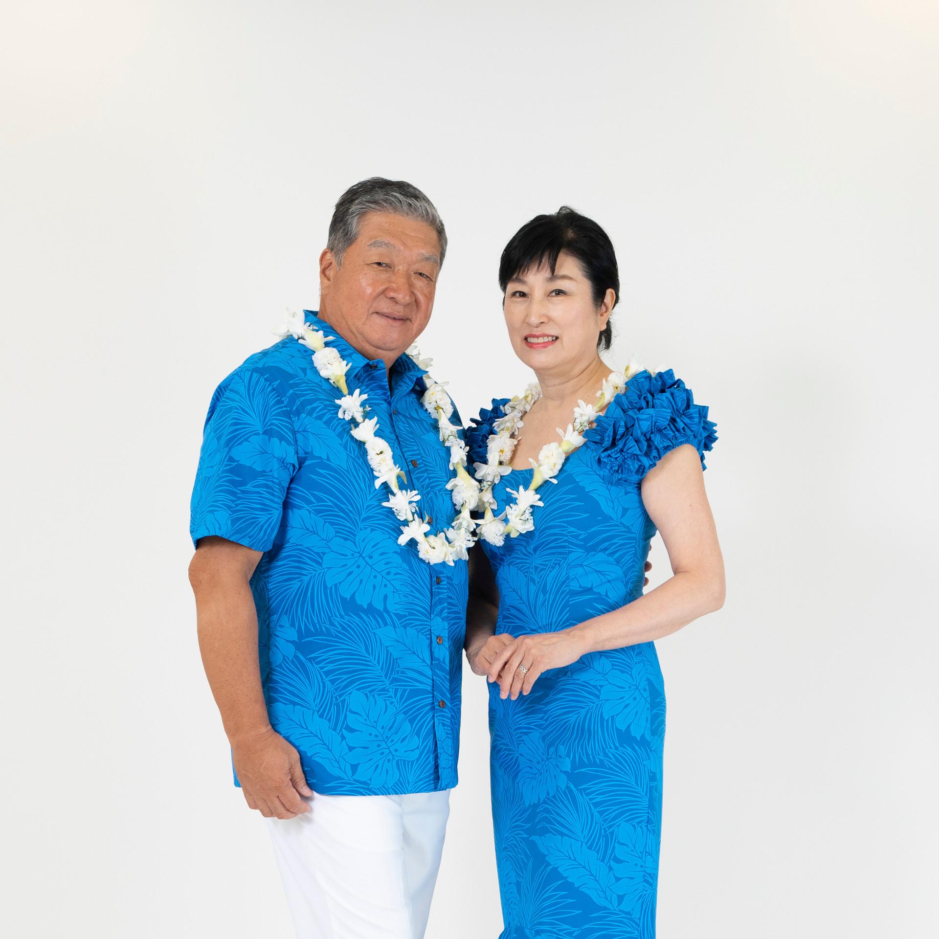 Blue monstera mid-length dress and shirt