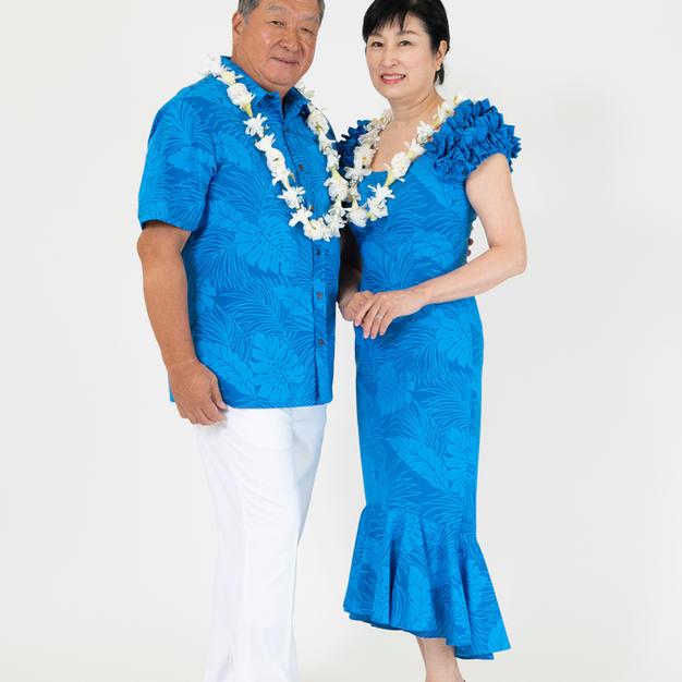 Blue Monstera Dress