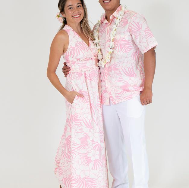 Pink Hibiscus Hawaiian Dress & Shirt