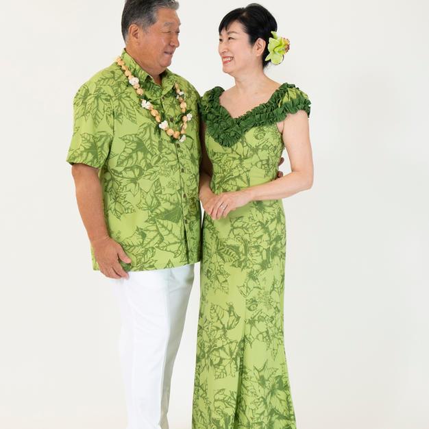 Green Kukui Leaf Hawaiian Dress and shirt
