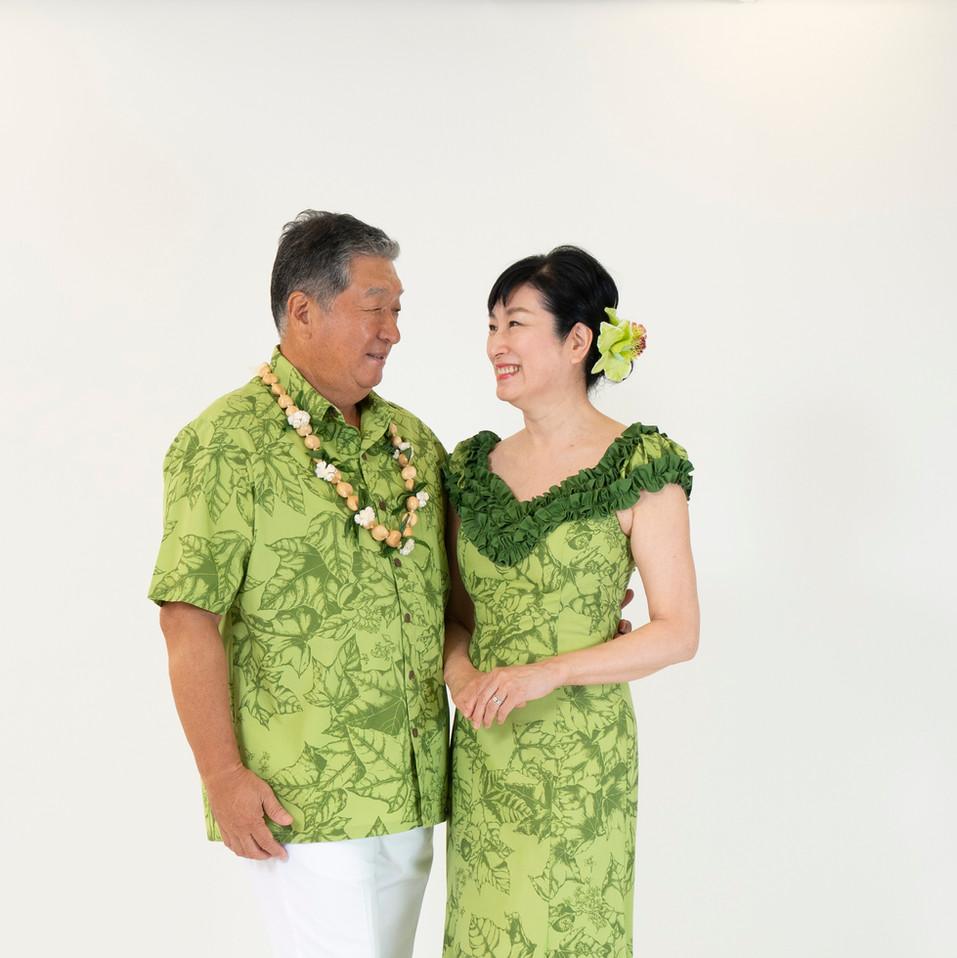 Kukui leaf print ruffle dress and shirt