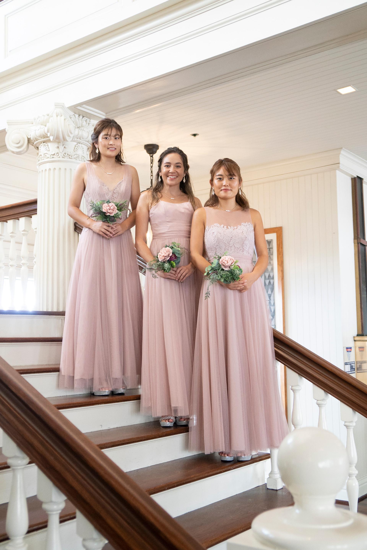Beige Pink Bridesmaid Dresses