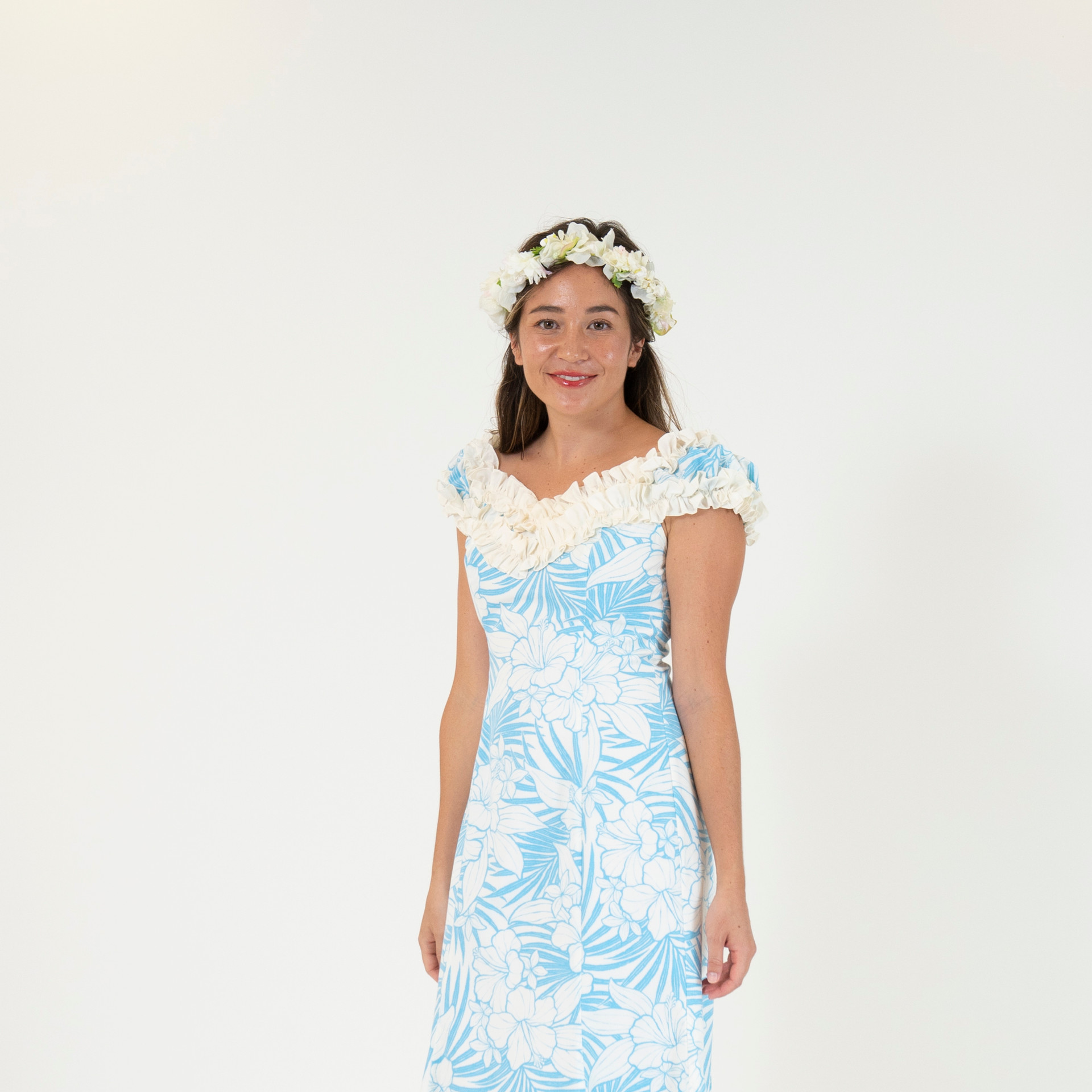 Pastel blue hibiscus ruffle dress
