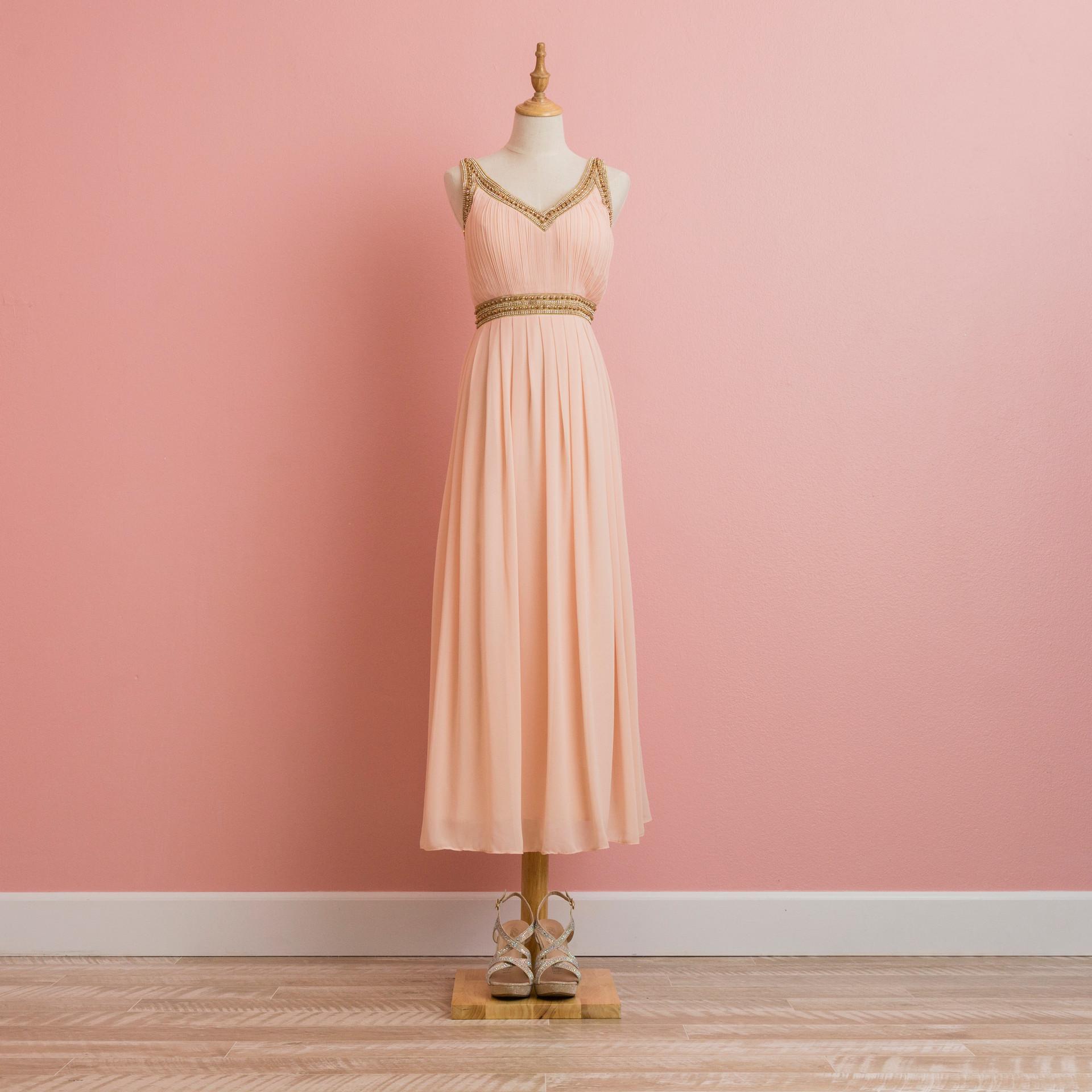 Sparkling Neck PInk Dress