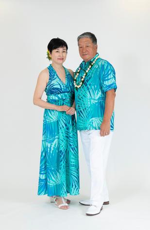 Palm Leaf Matching Muumuu and Hawaiian Shirt