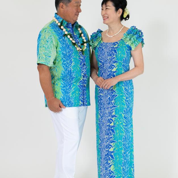 Blue Lei Print Dress