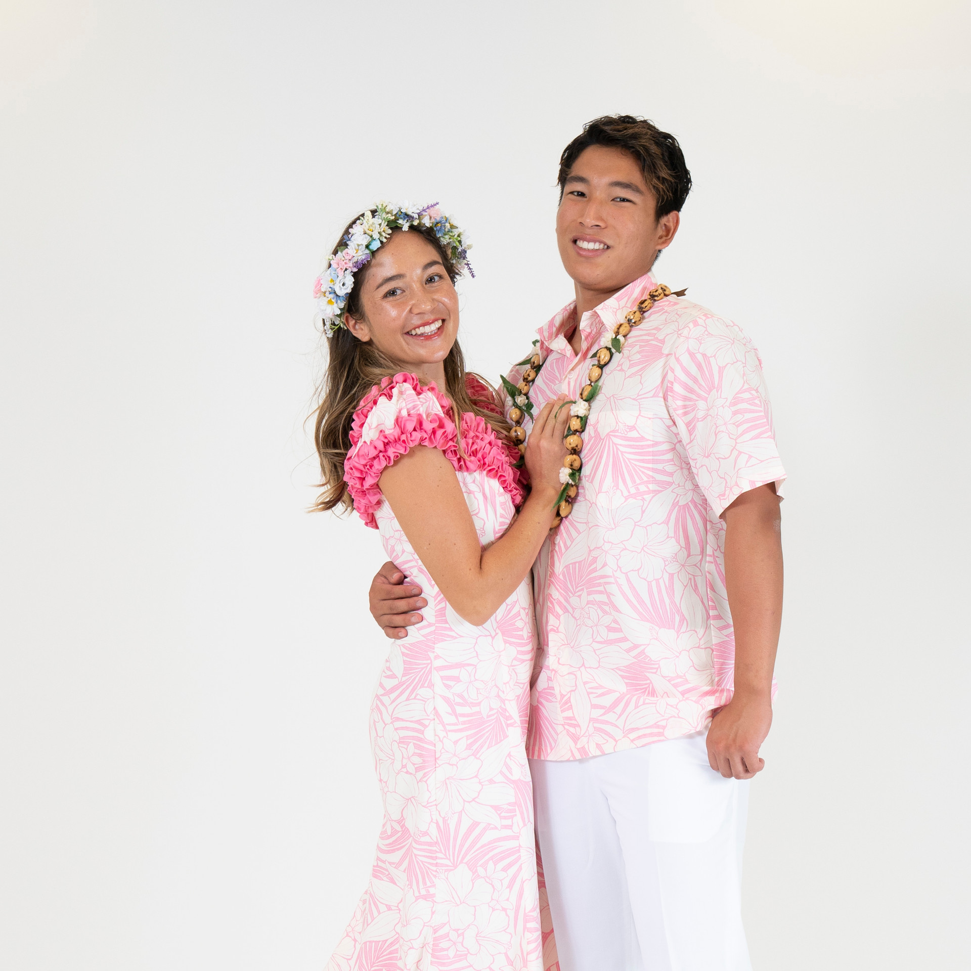 Pastel pink hibiscus ruffle dress and matching shirt