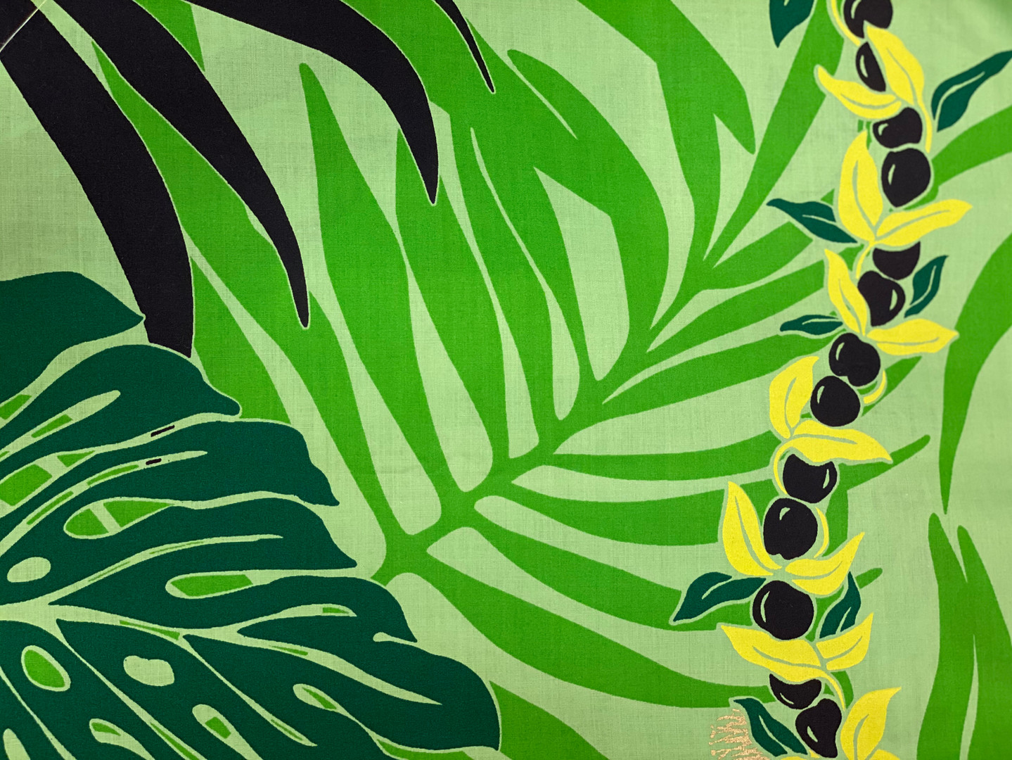 monstera and kukui print fabric