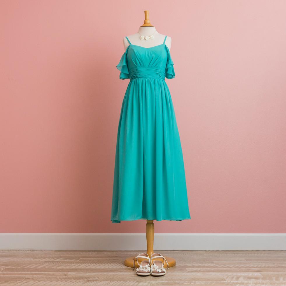 Cold-shoulder Turquoise Dress
