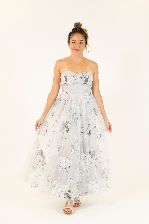 Gray Flower Print Dress