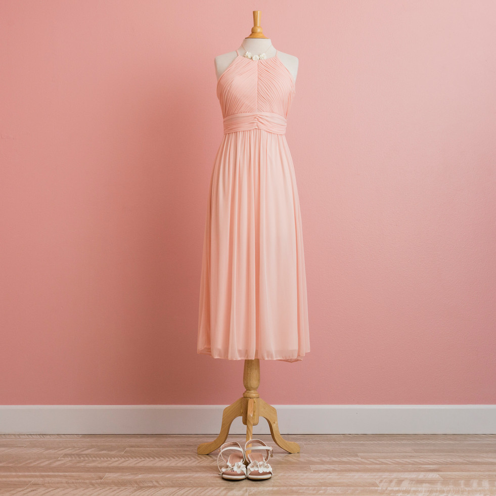 Pleated Top Pink Holter Dress
