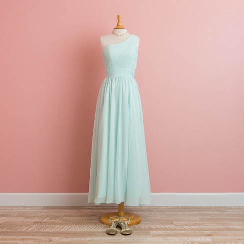 One Shoulder Mint Dress