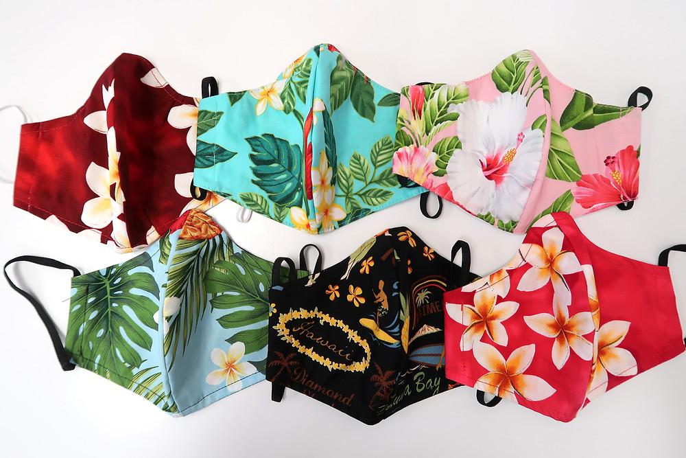 Variety of Hawaiian Print Masks