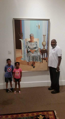 Pop w/ his Elma Lewis Painting at the The National Center of Afro American Artists
