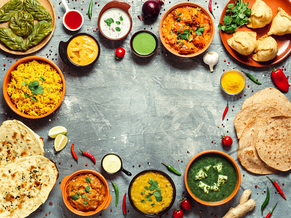 Indian cuisine dishes: tikka masala, dal