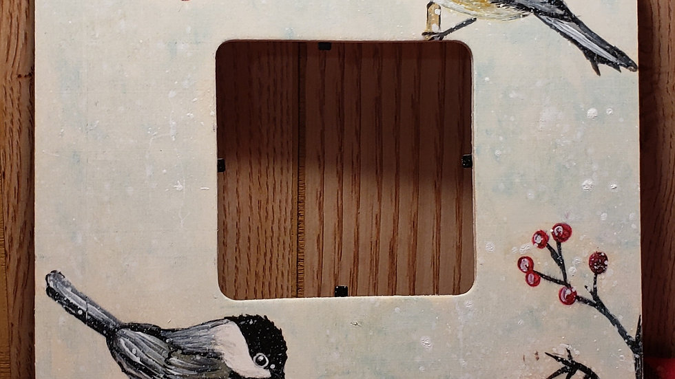 hand painted chickadee frame