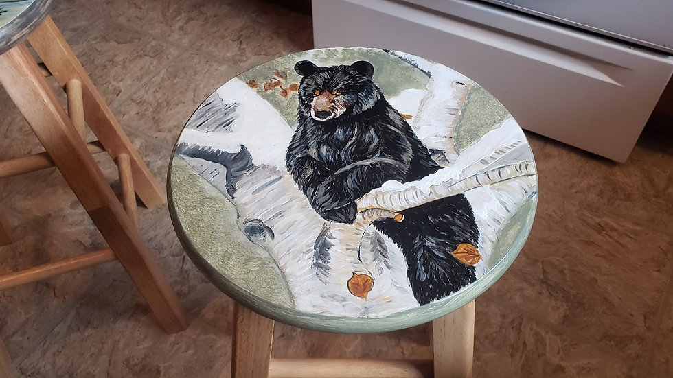 Hand painted bear barstool