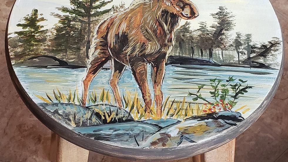 hand painted moose barstool