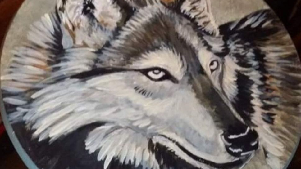 wolf hand painted bar stool