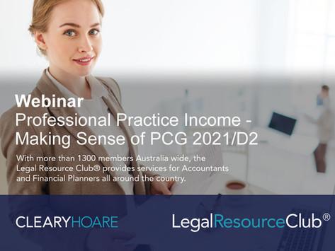 Webinar: Professional Practice Income: Making sense of PCG 2021/D2