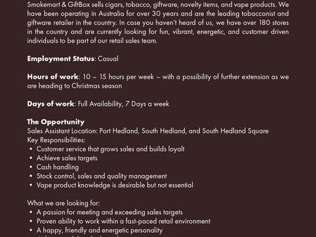 External Position Vacant: Sales Assistant