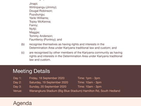 Notice of Kariyarra People Native Title Holders' Meeting