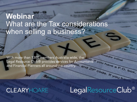 Webinar: What are the tax considerations when selling a business?