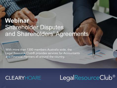 Webinar: Shareholder Disputes and Shareholders' Agreements