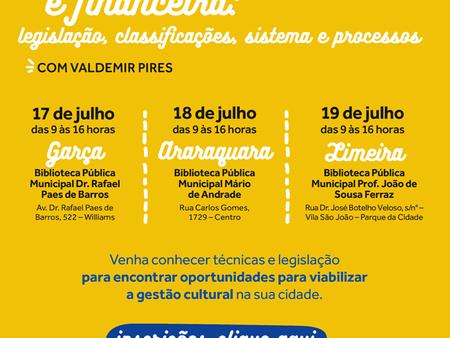 Curso Gestão Orçamentária e Financeira para profissionais de bibliotecas: Garça, Araraquara e Limeir