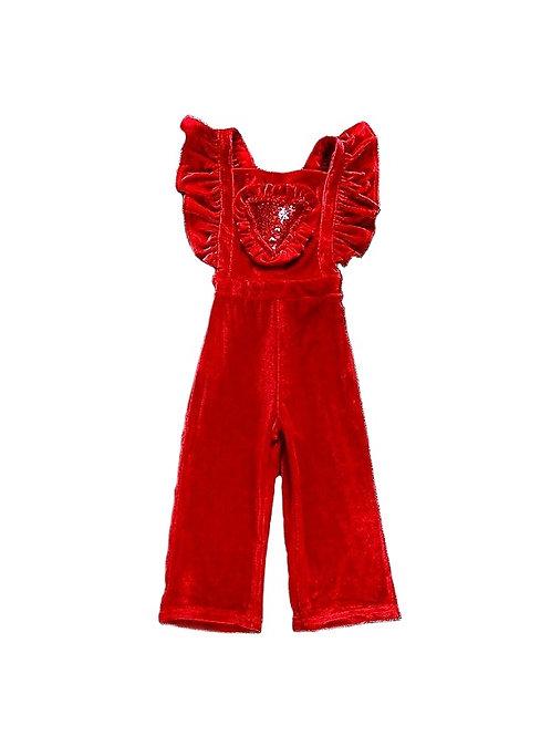 Lily red velvet jumpsuit