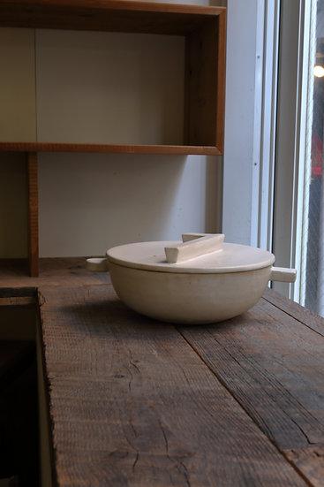 【内田 可織】白・蓋フラット土鍋(3〜4人用)