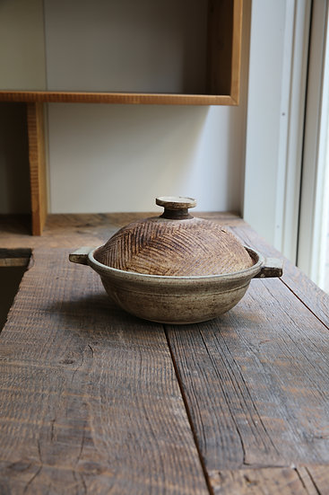 【内田 可織】ヘリンボーン・丸取手/胴体茶土鍋(1人用)