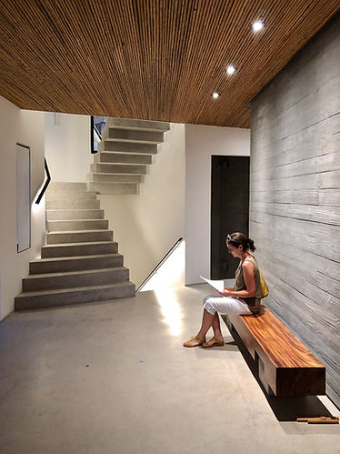 Modern entry at Las Catalinas home designed by Inverse Proejct in Costa Rica  simple modern interior design