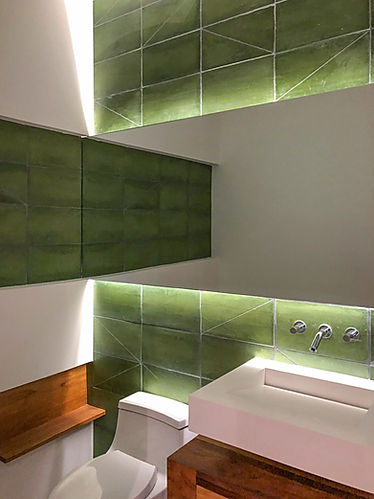 modern bathroom design and custom green geometric tile design in Las Catalinas designed by Inverse Project in Costa Rica