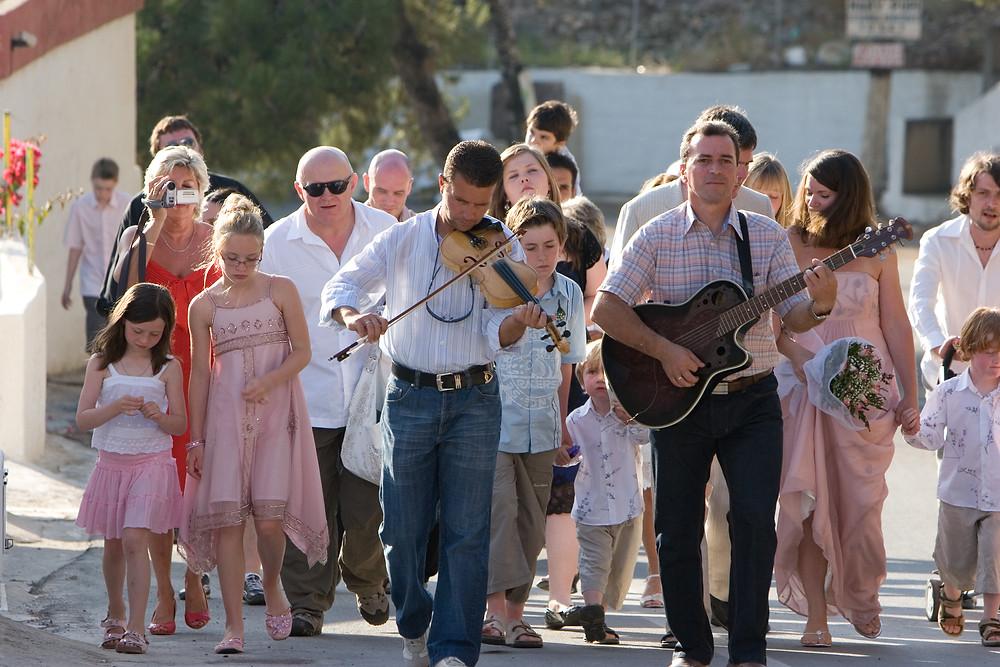 The wedding procession of our big fat Greek wedding in Kalymnos