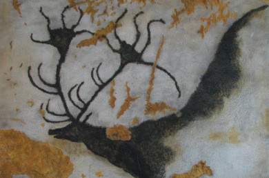 Image of cave-painting of deer with huge antlers, thought to be the giant irish elk