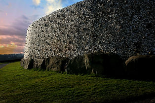 The white quartz wall of Newgrange burial mound, Ireland.