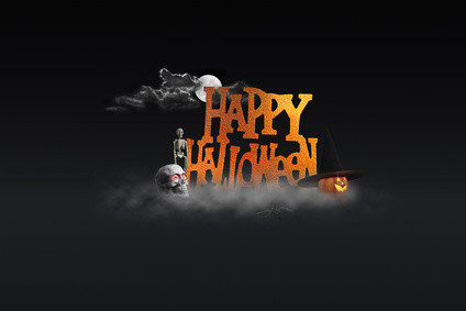 happy halloween sign with a full moon and mist concept