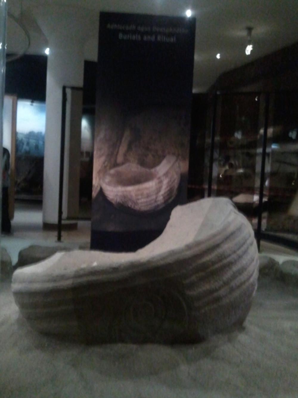 Replica of the Dagda's Cauldron on display in the Newgrange Visitor Centre