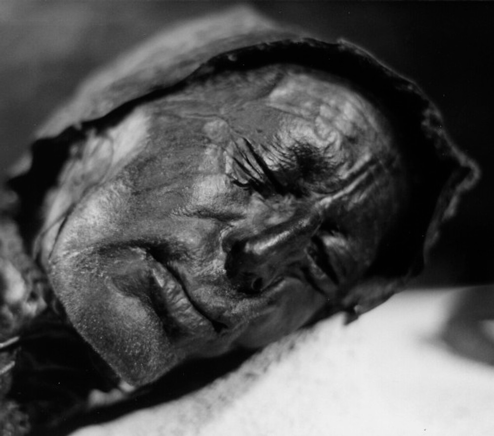 The face of Tollund Man. Looks like he's peacefully sleeping. By Sven Rosborn – Own work, Public Domain, https://commons.wikimedia.org/w/index.php?curid=4330462