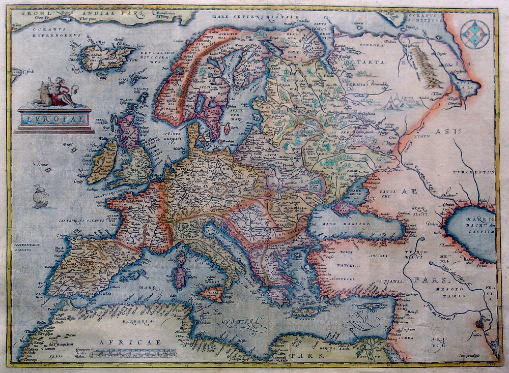 Ancient map of Europe dated 1595, showing the island of Hy-Brasil. Image courtesy of Wikipedia.